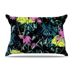 "Kess InHouse - Fernanda Sternieri ""FS010"" Neon Flowers Pillow Case, King, 36""x20"" - This pillowcase, is just as bunny soft as the Kess InHouse duvet. It's made of microfiber velvety fleece. This machine washable fleece pillow case is the perfect accent to any duvet. Be your Bed's Curator."