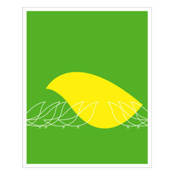 Hybrid-Home - Limited Edition Print - Flock - Like a mother watches over her chicks, you'll soon consider this print a cherished piece, to hold dear for years to come. This limited edition silkscreen, designed by Heather Amuny-Dey, will spring off your wall in colors of citrus and tender sentiments.