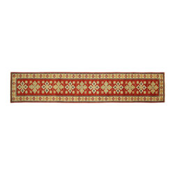 Manhattan Rugs - New Red Veg Dyed Runner Super Kazak 3x14 Hand Knotted Wool Floral Art Rug H5867 - Kazak (Kazakh, Kasak, Gazakh, Qazax). The most used spelling today is Qazax but rug people use Kazak so I generally do as well.The areas known as Kazakstan, Chechenya and Shirvan respectively are situated north of  Iran and Afghanistan and to the east of the Caspian sea and are all new Soviet republics.   These rugs are woven by settled Armenians as well as nomadic Kurds, Georgians, Azerbaijanis and Lurs.  Many of the people of Turkoman origin fled to Pakistan when the Russians invaded Afghanistan and most of the rugs are woven close to Peshawar on the Afghan-Pakistan border.There are many design influences and consequently a large variety of motifs of various medallions, diamonds, latch-hooked zig-zags and other geometric shapes.  However, it is the wonderful colours used with rich reds, blues, yellows and greens which make them stand out from other rugs.  The ability of the Caucasian weaver to use dramatic colours and patterns is unequalled in the rug weaving world.  Very hard-wearing rugs as well as being very collectable