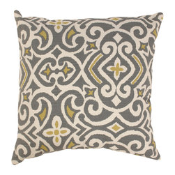 Pillow Perfect - Pillow Perfect Decorative Grey/Yellow Damask Square Toss Pillow - Includes: One decorative throw pillow Dimensions: 16.5 inches long x 16.5 inches wide x 5 inches high Color options: Grey, yellow damask