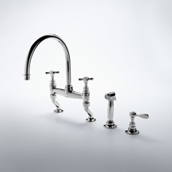 Vintage Gooseneck Two Hole Kitchen Mixer With Metal Cross Handles - Old World charm + Modern functionality = Timeless grace.