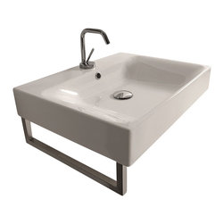 "WS Bath Collections - Cento 3530 Wall Hung or Counter Top Ceramic Sink 19.7"" x 17.7"" - Cento by Wes Bath Collections Bathroom Sink 19.7 x 17.7, Designed by Marc Sadler of Italy, wall hung or counter top installation, in ceramic white"