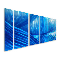 Pure Art - Blue Calm Hand-Painted Metal Wall Art Set of 6 - Get lost in the depth of this fine metal wall art collection! This Blue Calm Hand-Painted Metal Wall Art Set of 6 features deep flowing lines that evenly blend into one another creating a sensational visual work. Each panel in the collection is handmade and hand painted in cobalt and blue colors by talented craftsmen. A clear protective coating is applied to maintain the outstanding beauty of this set of metal wall art. You will appreciate the manner in which this set of artwork blends with your home or office contemporary or modern decor. Entice every eye into a world of imaginative bliss when you add this to your selection of fine artsMade with top grade aluminum material and handcrafted with the use of special colors, it is a very appealing piece that sticks out with its genuine glow. Easy to hang and clean.