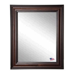 Rayne Mirrors - USA Made Missouri Walnut Wall Mirror - This rectangular wall mirror features a wood frame with a warm dark walnut finish.  Its black undertones make it the perfect choice for both practical use in a bedroom or bathroom or for style in a living room or hallway.  Rayne's American Made standard of quality includes; metal reinforced frame corner  support, both vertical and horizontal hanging hardware installed and a manufacturers warranty.