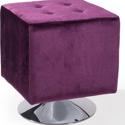 Armen Living - Pica Square Ottoman in Purple - Unmistakably posh button-tufting detail enhances the distinguished silhouette of this updated classic.