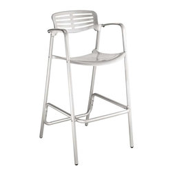 Modway - Toledo Bar Stool in Silver - The unique appearance of the Ohio Style Indoor/Outdoor Accent Bar Stool spurs the imaginative faculties into full gear. Containing a vision of the future already in the present; the time continuum is virtually one extension. Embody intangible wisps of thoughts into an inexhaustible fountain of creative momentum. Perfect for pub area use.