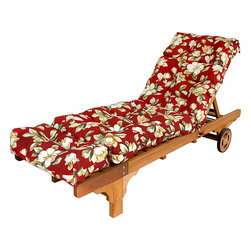 None - Outdoor Palazzo Floral Chaise Lounge Cushion - Update the fashion of your outdoor decor with this lounge chair cushion. In a floral pattern with hues of red, this cushion is sewn on all sides and is weather resistant.