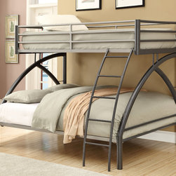 Coaster - Twin/Full Bunk Bed, Black - Bring the attractive design of a twin-over full bunk bed with a curve support in your room. The gunmetal and silver gives the two toned look that will be a center piece of the room. The curve leg design provides the visual place to relax and get some sleep. Add this stylish and functional twin over full size bunk to your home for a fresh look that you will love.