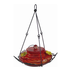 Nature's Way - Garden Top Fill Red Swirl - The Garden Hummingbird Feeders are made of beautiful, hand-blown glass and feature easy fill and clean feeders that have 4 inch wide openings for easier filling and cleaning removable flowers.
