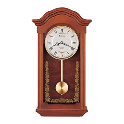"""Bulova - Baronet Pendulum Wall Clock - Made from solid wood with a mahogany finish, this wall clock is sure to enhance any home or office setting. The Baronet Wall Clock plays a Westminster melody on the hour and has a protective screened glass casing. A classic way to accentuate any dcor, this pendulum wall clock adds class to any room. Features: - Mahogany finish. - Solid wood case. - Westminster melody on the hour. - Decorative screened glass. - Roman numerals. Specifications: - Recommended battery type: AA (4). - 1-Year warranty. - Overall Dimensions: 22.5"""" H x 12.25"""" W x 4.75"""" D."""