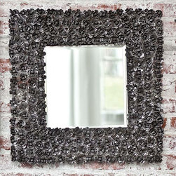 Regina Andrew Rose Bud Mirror In Dark Grey Zinc - This mirror's unique texture is made up of sweet metal rose buds. The contrast between the charming little floral shapes and the dark gray hue is what makes it so interesting and a bit ironic.
