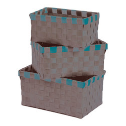 """Set of 3 Woven Strap Storage Totes Pp Brown Glaze/White - This set of 3 woven strap storage totes is made of polypropylene. Perfect for your bathroom, home or office, these baskets give you a functional and stylish storage option. Wipe with a damp cloth. Small basket measures 5.90""""L X 3.54""""W X 2.76""""H, Medium basket 6.69"""" L X 4.33""""W X 3.35""""H, Large basket 7.48"""" L X 5.12""""W X 3.74""""H. Color brown glaze and white. This pretty set of woven strap tote baskets will complement your decor as well as being functional and will make a great addition to any closet or countertop! Complete your decoration with other products of the same collection. Imported."""