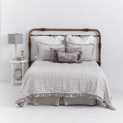 Cloud Nine Reversible Design of Soft Grey Chenille Velvert with Overlay of Uniqu - DESIGNER BEDDING . REVERSIBLE . TWO GREAT LOOKS!