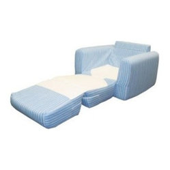 Fun Furnishings Blue Jewel Stripe Kids Chair Sleeper