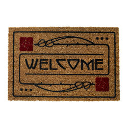 """Dard Hunter - Arts and Crafts Dard Hunter Design Rose Motif 29 x 19 Door Mat - This beautiful Arts & Crafts welcome door mat is made from 100% natural fiber embedded into heavy rubber backing with raised flocked design. This Rose and Stem design was inspired by the Dard Hunter classic design for many Roycroft publications including """"A Message to Garcia"""". Dimensions: 29"""" x 19""""."""