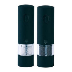 Peugeot - Peugeot Onyx Electric Salt and Pepper Mill - This Peugeot Onyx Electric Pepper and Salt Mill Set uses six AAA batteries (provided) and features a light that illuminates when the mill is in use (spare bulb also provided) and a resting tray that collects spice dust. Peugeot Onyx Mills have a beautiful black soft touch finish.