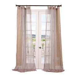 Exclusive Fabrics & Furnishings, LLC - Piera Taupe Gray Patterned Sheer Curtain - Change your pattern with these impeccably tailored sheer drapes. They'll add the perfect finishing touch to your windows wherever they hang.