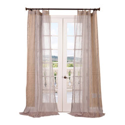 "Exclusive Fabrics & Furnishings, LLC - Piera Taupe Gray Patterned Sheer Curtain - 100% Polyester. 3"" Pole Pocket. Imported. Dry Clean Only."