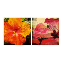 READY2HANGART.COM - Ready2hangart Alexis Bueno Tropical Hibiscus (2-PC) Canvas Wall Art Set - This Tropical Hiiscus was inspired by the Caribbean Island of Antigua; full of color and beauty. The two-toned hibiscus flowers are offered as a 2-PC Canvas Art Set. It is fully finished, arriving ready to hang at your home or office.