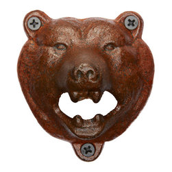 Rejuvenation: Kitchen - The Bear Wall-Mount Bottle Opener.  Go ahead - let this bear bottle sink its teeth into that beer bottle cap. Wonderful for kitchens, decks - and cabins, of course!