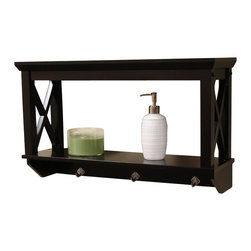RiverRidge - X-Frame Bathroom Wall Shelf - Modern, clean X-frame design. Espresso finish. Perfect for additional shelf space. Can be used in the bathroom or any other room in the house. 25.98 in. W x 7.68 in. D x 15.35 in. H. Weight: 13 lbs.