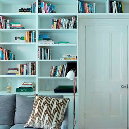 Contemporary Bookshelves - Open book shelving with cabinet below,.