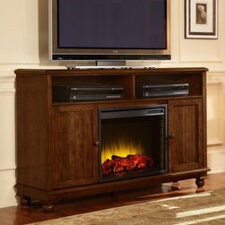 Pleasant Hearth - Pleasant Hearth Pearson Media Cabinet with Electric Fireplace Multicolor - 238-2 - Shop for Fire Places Wood Stoves and Hardware from Hayneedle.com! The Pleasant Hearth Pearson Media Cabinet with Electric Fireplace has enough mantle space for a 60-inch flat screen TV and offers dual functionality as a source of soothing warmth and convenient organization for games movies music and more. This solid wood cabinet in heritage walnut finish features two bead board door cabinets with adjustable shelving and a glowing LED ember bed for added ambiance. The fireplace comes with 3 realistic flame settings 10 timer settings 10 heat temperature settings and can efficiently heat any home or office environment up to 400 square feet in size. About GHP GroupGHP Group creates electric fireplaces accessories log sets and other heating options found in homes across America. With years of experience and a close attention to detail their products exceed industry standards of safety quality durability and functionality. Whether you're warming a room or just making a relaxing glow there's a GHP Pleasant Hearth product for you.