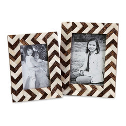Brown Chevron Zig Zag Bone Inlay Photo Frames - Set of 2 - *A set of two photo frames made with bone inlay make the perfect desk, shelf or vanity accessory. White bone inlay with brown chevron pattern gives these frames a simple decorative appeal. For a coordinated look, display with the Zig Zag bone inlay boxes.