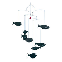 Flensted Mobiles - Shoal of Fish Mobile - Eight fish move ceaselessly, lured by the bright red worm dangling on a strange hook. But would it be a tasty morsel?