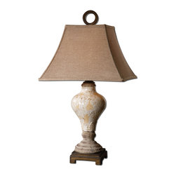 Distressed Crackle Ivory Ceramic Table Lamp - *Distressed, crackled ivory ceramic with tan undertones, rustic accents and dark bronze details.
