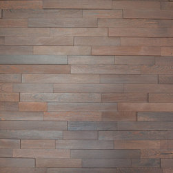 "Wenge Wall Panel - Mixture of 5/8"" and 5/16"" solid Wenge flooring creates this unique wall panel"