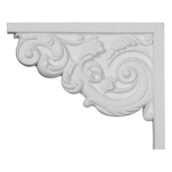 "Ekena Millwork - 8 3/4""W x 7 1/8""H x 5/8""D Small Ashford Stair Bracket, Left - With the beauty of original and historical styles, decorative stair brackets add the finishing touch to stair systems.  Manufactured from a high density urethane foam, they hold the same type of density and detail as traditional plaster stair bracket products.  They come factory primed and can be easily installed using standard finishing nails and/or polyurethane construction adhesive."
