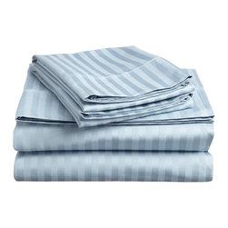 300 Thread Count Egyptian Cotton King Light Blue Stripe Sheet Set - 300 Thread Count Egyptian Cotton King Light Blue Stripe Sheet Set