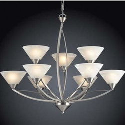 Elk Lighting - Elysburg Nine-Light Satin Nickel Chandelier - Elysburg Nine-Light Satin Nickel Chandelier Elk Lighting - 7638/6+3