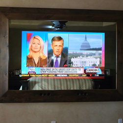 """In-Mirror TVs (master bedrm tv) - Amazing custom built two way mirror with 65"""" """"hidden"""" TV!! Built using Massiv Brand's 8.5"""" Aspen profile with crystal clear two way mirror and TV. The overall dimensions of the frame are 63"""" x 89"""". www.massivbrand.com"""