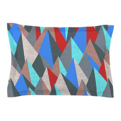 "Kess InHouse - Michelle Drew ""Mountain Peaks II"" Blue Red Pillow Sham (Cotton, 30"" x 20"") - Pairing your already chic duvet cover with playful pillow shams is the perfect way to tie your bedroom together. There are endless possibilities to feed your artistic palette with these imaginative pillow shams. It will looks so elegant you won't want ruin the masterpiece you have created when you go to bed. Not only are these pillow shams nice to look at they are also made from a high quality cotton blend. They are so soft that they will elevate your sleep up to level that is beyond Cloud 9. We always print our goods with the highest quality printing process in order to maintain the integrity of the art that you are adeptly displaying. This means that you won't have to worry about your art fading or your sham loosing it's freshness."