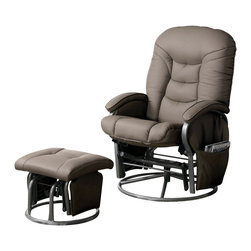 Coaster - Coaster Recliners with Ottomans Casual Glider Recliner Chair in Beige Leatherett - Coaster - Recliners - 600228 - Swivel, glide or recline your way to comfort with this versatile collection of recliner with ottoman sets. Coordinating ottomans make each recliner, glider or combination chair a perfect fit for your living room, media room or den. Side pockets on select seats provide convenient storage for remotes, books, magazines and more. A wide range of fabrics and finishes even let you choose the chair and ottoman set that suits your tastes. Place in your living room or den for plush comfort from dawn to dusk, tuck into a corner with a floor lamp for an ultra cozy reading nook or group with your love seat and sofa for a stylish accent to existing decor. Regardless of where or how you use them, these fantastic recliner and ottoman sets are sure to bring distinctive style and unsurpassed comfort into your home!