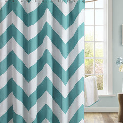 JLA Home - Teal Zigzag Shower Curtain - Shower in style with the subtle, elegance of this sweet shower curtain. Along with a print that's easily mixed into a wide range of design schemes, this set also includes 12 hooks to make the transition easy from installation to admiration.   72'' W x 72'' H 100% polyester 85 GSM Imported