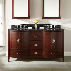 """60"""" Gwenna Double Vanity - 2 Undermount Sinks - 8"""" Faucet Holes - 3/4"""" Black - With its curving silhouette and rich hardwood, the Gwenna Double Sink Vanity makes a true impression. Deco-inspired hardware adds a beautiful highlight."""