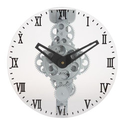 """Maple's Clocks - Moving-Gear Wall Clock with Glass Cover - Moving gears. Assembly with no tool needed. 12"""" Diameter front glass. Big roman numerals. 5 in. W x 12 in. L x 12 in. HThis wall clock features visible moving gears made of plastic with a semi gloss silver finish.  A plate glass cover with roman numerals is mounted on the front.  The clock is 12 inches in diameter and 5 inches deep.  Precision timing is kept with quartz crystal.  The clock is powered by 2 D batteries (not included) and includes a 1 year limited warranty."""
