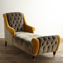 """Haute House - Brandi Velvet Chaise - GRAY/GOLD - Haute HouseBrandi Velvet ChaiseDetailsEXCLUSIVELY OURS.Handcrafted button-tufted chaise.Alder wood frame.Polyester velvet upholstery.Hand-painted finish.36""""W x 76""""L x 43""""T; seat 19""""T.Made in the USA.Boxed weight approximately 138 lbs. Please note that this item may require additional delivery and processing charges.Designer About Haute House:Haute House is a Hollywood-based design and manufacturing company that creates haute couture furnishings for the home. Designer and owner Casey Fisher has been designing furniture for years as an upholstery textile and retail space stylist. Instead of designing a line offering just one look the Haute House line consists of three looks that offer something for every taste. However there is one element present in every Haute House design a great sense of style."""