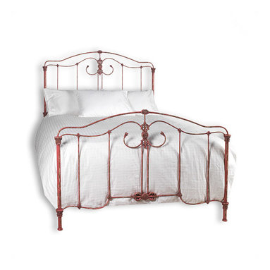 """Liz Ann's Interior Design Boutique - The design of the beautifully handcrafted Erica Full/Queen size iron bed is that of a European antique.  Intricately detailed each piece is custom made to order.  Choose from a large selection of gorgeous finishes.  Shown in Vintage Grenadine.  Overall Dimensions for Full: 57Wx79L.  Overall Dimensions for Queen: 67Wx92L.  Headboard Height: 62"""".  Footboard Height: 40"""".  Frame Height: 11"""".  *More than one finish color is available at an additional charge."""