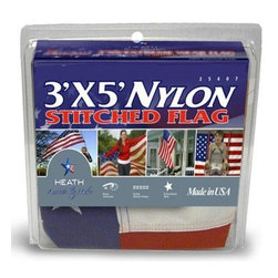 """Heath - 3"""" x 5"""" Nylon U.S. Flag - Outdoor 3 foot x 5 foot Nylon Sewn Strips and Embroidered Stars U.S. Flag- Banner Style Flag Clamshell Pack - Nylon-highest quality resists fading. Double stitched sewn stripes for longer life. Strong white heading with rust-resistant brass grommets."""