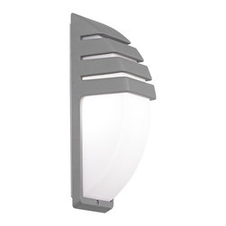 "Possini Euro Design - Matte Silver Contemporary Wall Light - A semi-circle opal acrylic diffuser sits beneath the decorative matte silver slatted housing in this fantastic wall light. The contemporary look is perfect for indoor spaces or for garages. From the Possini Euro Design outdoor lighting collection. Die-cast aluminum construction. Matte silver finish. Opal acrylic diffuser. Takes one 60 watt bulb (not included). 13 3/4"" high. 4 3/4"" wide. Extends 4 3/4"" from the wall.  Die-cast aluminum construction.  Matte silver finish.   Opal acrylic diffuser.   Takes one 60 watt bulb (not included).   13 3/4"" high.   4 3/4"" wide.    Extends 4 3/4"" from the wall."