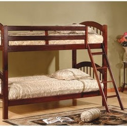 K & B Furniture Arched Twin Over Twin Bunk Bed - The K & B Furniture Arched Twin Over Twin Bunk Bed is a step up from ordinary bunk bed style—and we don't just mean its lovely ladder. Constructed from select hardwoods and veneers for superior quality and style, this handsome wood bunk is accented with classic arch boards in your choice of wood finish. As easy on your wallet as it is on the eyes, this bunk is great for growing kids, allowing parents to split it into two individual twin beds as bedroom space (or insistent children) requires.About K & B Furniture Headquartered in New York City, K & B Furniture was founded over 50 years ago with a simple mission: to provide home furniture products that are as durable as they are attractive. Covering all major furnishing categories and classic styles, the K & B Furniture selection features quality built furniture designed and manufactured exclusively for their room-centric collections. From bunk beds to dining sets to home accents and accessories, K & B Furniture provides quality home furnishings at the most competitive price.