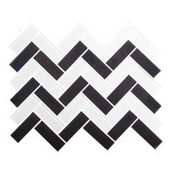 White and Black Herringbone Tile - 1 sf A herringbone mix of black and white glossy glass tiles. A perfect mix for floors or wall, pool or hearth.