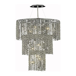 """PWG Lighting / Lighting By Pecaso - Warrane 9-Light 16"""" Crystal Chandelier 1104G42C-GT-SS - Shimmering and glamorous rows of crystals make these Crystal Chandeliers eye-catching designs. Each combination in the Warrane Collection is an exceptional work of art providing an enchanting centerpiece to any room."""
