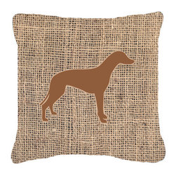 Caroline's Treasures - Greyhound Burlap and Brown Fabric Decorative Pillow Bb1086 - Indoor or Outdoor Pillow from heavyweight Canvas. Has the feel of Sunbrella Fabric. 18 inch x 18 inch 100% Polyester Fabric pillow Sham with pillow form. This pillow is made from our new canvas type fabric can be used Indoor or outdoor. Fade resistant, stain resistant and Machine washable..