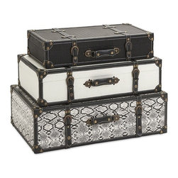 """IMAX - Aberdeen Storage Trunks - Set Of 3 - Help solve the number-one decorating conundrum facing consumers, lack of adequate storage, with a trio of storage trucks with leather and iron accents and plenty of vintage appeal. Dimensions:(5.5-6.5-8""""h x 23-25-28""""w x 11.5-13.5-15.75"""")"""
