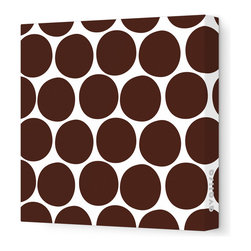 "Avalisa - Pattern - Dots Stretched Wall Art, 12"" x 12"", Brown - What is it about polka dots? They're just circles, but en masse they make even the worst day a little better. Add some instant cheer to your wall with these dots in eye-popping colors. Each comes in your choice of sizes — or hang several together for some oom-pah-licious fun."